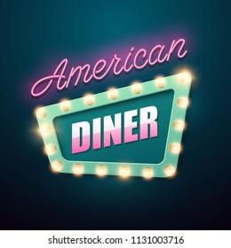 Retro light sign. American diner banner in vintage style. Vector illustration.