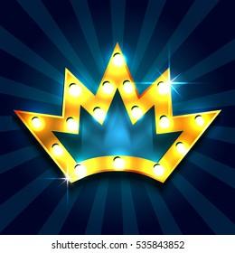 Retro light sign. Golden crown. Vintage style banner. Vector illustration