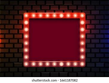 Retro light sign on brick wall background. Vintage style banner.Vector illustration