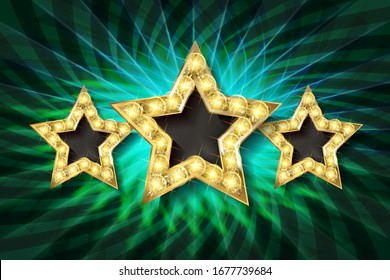 Retro light sign. Three gold stars on dark green background with rays. Vintage style banner. Illustration