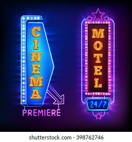 Retro light vertical signs with cinema and motel emblems isolated vector illustration