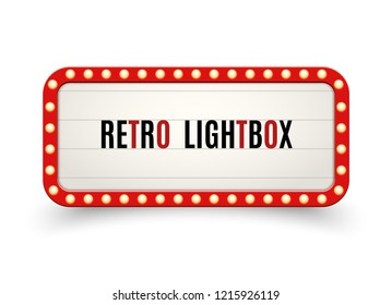 Retro lightbox billboard vintage frame. Vintage banner light box. Cinema or show signboard decoration advertise.