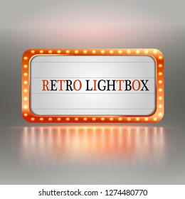 Retro lightbox billboard vintage frame. Vintage banner light box. Cinema or show signboard decoration advertise. Vector illustration.