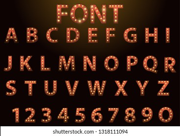 Retro lightbulb glowing theatre and cinema sign letters. Vector alphabet for decoration.
