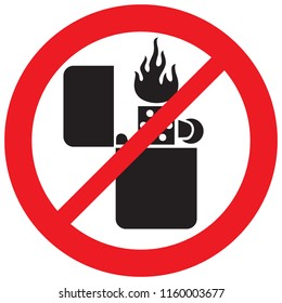 retro lighter with flame not not allowed sign (prohibition icon)