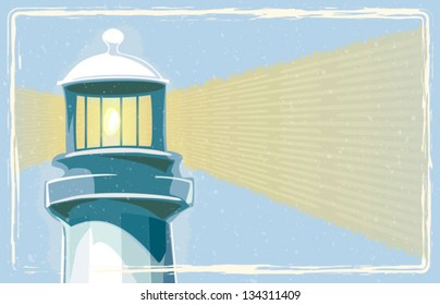 Retro lighthouse with border vector