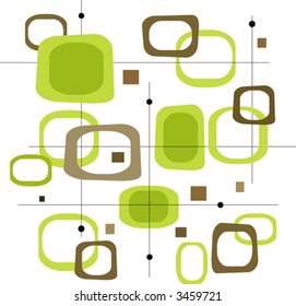 Retro Lime Green and Brown Squares (Vector) Spot illustration of stylish, retro green and brown squares. Easy-edit layered vector file--No transparencies or strokes!