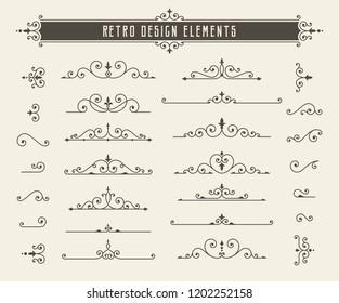 Retro line design elements