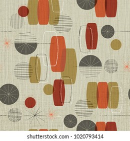 Retro linen textured weave with vintage shapes and stars inspired by mid-century modern fabrics.