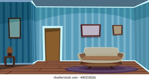 Retro Living Room / Blue