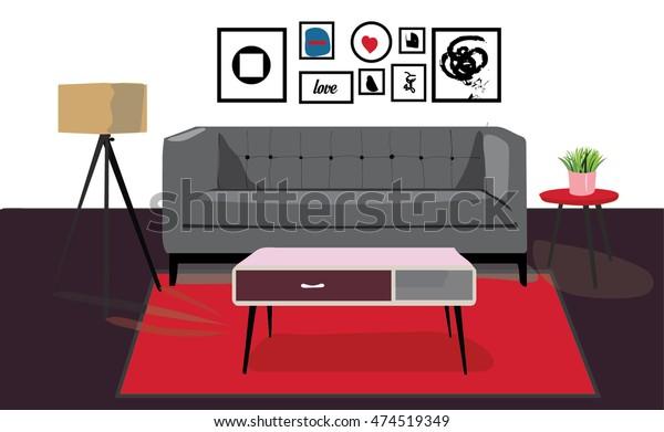 Retro Living Room Furniture Sofa Lamp Stock Vector (Royalty ...