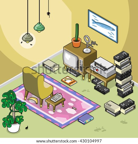 retro living room tube tv video stock vector royalty free rh shutterstock com Living Room with TV Living Room TV Setups