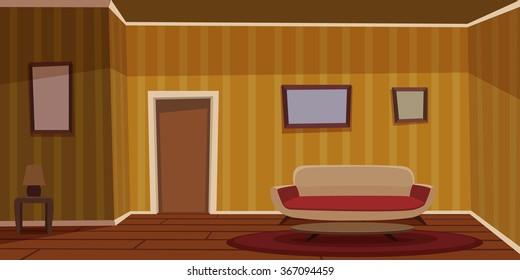 Retro Living Room - Yellow