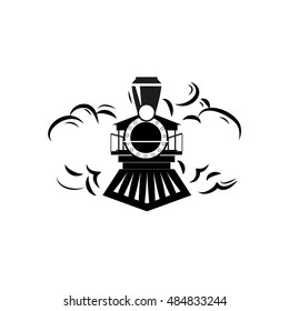Retro locomotive outline design logo vector illustration