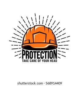 Retro logo with builder helmet, sunburst, inscription on a white background. Vector illustration.