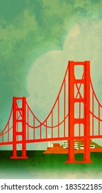 Retro looking Golden Gate Bridge poster with space for text.