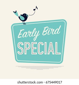 Retro looking vector minimalistic concept on 'Early Bird Special'. Special discount or sale event banner or poster template in vintage style