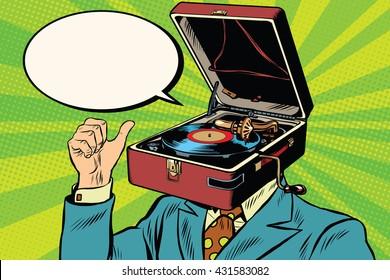 Retro lover music man gramophone phonograph