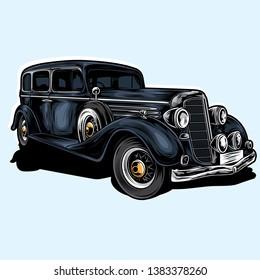 retro mafia car vector illustration