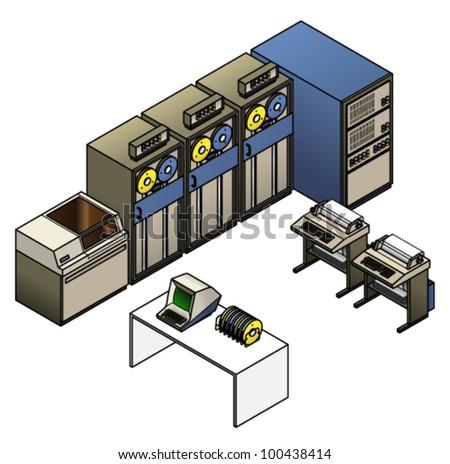 Retro Mainframe Computer Setup Processor Cabinet Stock Vector ...