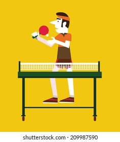 Retro man holding a ball and a ping pong. Sport and retro concept. flat character. vector illustration