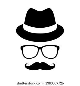 Retro man portrait with hat and glasses isolated on white background