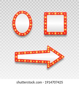 Retro marquee empty frames and arrow movie, casino and theater vanity icons for lamp mirror cinema artist makeup room.