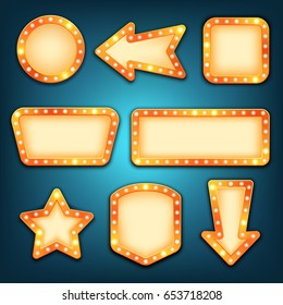 Retro marquee frames with light bulbs, vector. Neon marquee signs. Round, arrow, square, rectangular, star empty light frame. Vintage borders.