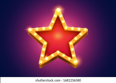Retro marquee light red star decoration with yellow frame glowing on purple background, broadway style