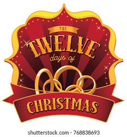 Retro Marquee of the Twelve Days of Christmas. EPS 10 vector illustration.