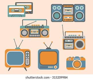 Retro Media electronics, Icons Set, vector illustration of tv, radio, photo camera, cassette, radio tape recorder