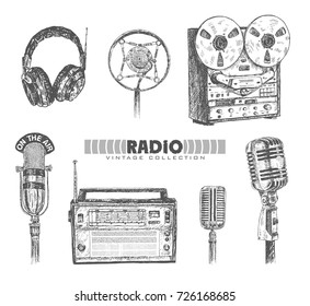 Retro media. Microphones, reel tape recorder, radio receiver, headphones. Set of items music lover and radio isolated on white background. Vintage doodle hand drawn engraving style vector illustration