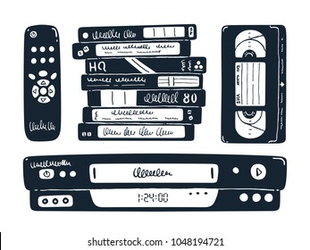Retro media technologies. Set of 4 elements. VCR, tapes, remote control. Vector illustration. Inky doodle.
