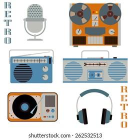 Retro media technology icons. Microphone, headphones, radio, gramophone, reel-to-reel tape recorder. Vector flat style elements