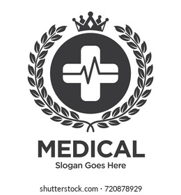 Retro Medical Logo with Crown