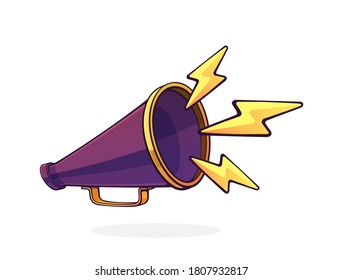 Retro megaphone with lightnings symbol of noise. Hand loud speaker. Voice audio information and sale promotion. Cartoon vector illustration with outline. Clip art Isolated on white background
