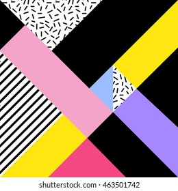 Retro Memphis pattern. Geometric abstract background in 1980s - 1990s style