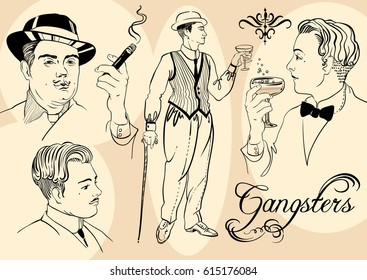 Retro men`s set: sketch style mafia and gangsters of twenties, Vector illustration