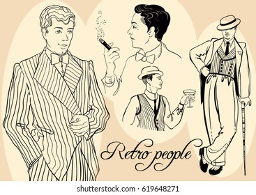 Retro men`s set: sketch style Retro people of twenties, Vector illustration