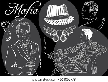 Retro men`s set: sketch style mafia and gangsters of twenties, Vector art isolated on black.