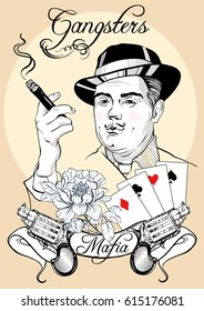 Retro men`s set: vector vintage illustration with gangster, gun revolvers, poker cards and flower.