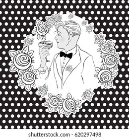 Retro men`s set: vector vintage illustration in black and white colors. Retro party design of 1920s