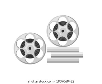 Retro metal cinema reel with film vector illustration isolated on white background