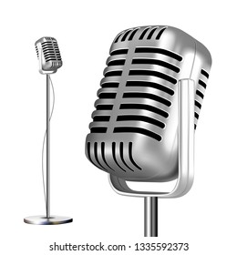 Retro Metal Microphone With Stand Vector. Chrome. Music Icon. Vintage Concert. Audio Communication. Illustration