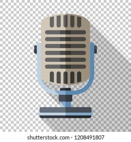 Retro microphone icon in flat style on transparent background