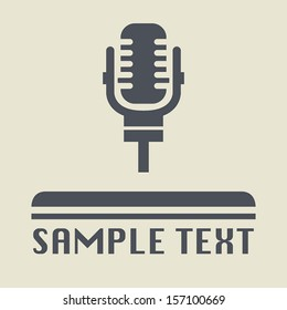 Retro microphone icon or sign, vector illustration