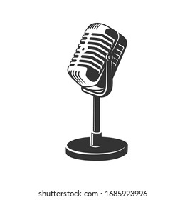 Retro microphone images isolated on white background. Vector illustration