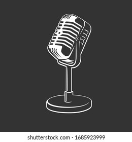 Retro microphone images isolated on black background. Vector illustration