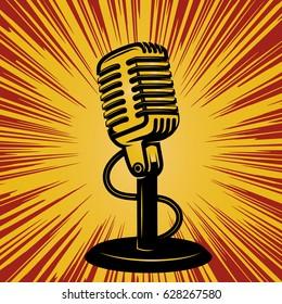retro microphone on vintage background. Design element for poster, emblem, badge. Vector illustration