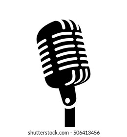 Retro microphone sign vector illustration